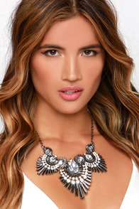 It's Witchcraft Gunmetal Rhinestone Statement Necklace at Lulus.com!