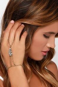 Mystic Identity Gold Rhinestone Harness Bracelet at Lulus.com!