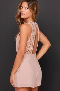 She's a Beauty Blush Lace Romper at Lulus.com!