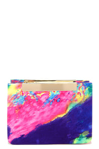 Watercolor Wonderful Blue Multi Print Purse at Lulus.com!