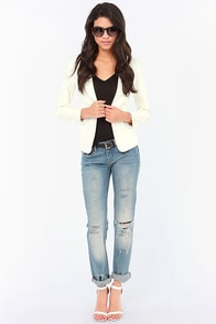We Won't Stop Ivory Vegan Leather Blazer at Lulus.com!