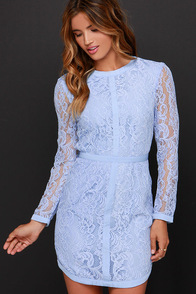Sweet as Sugar Periwinkle Long Sleeve Lace Dress at Lulus.com!