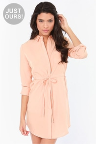 LULUS Exclusive Vote of Confidence Peach Shirt Dress