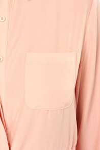 LULUS Exclusive Vote of Confidence Peach Shirt Dress at Lulus.com!