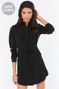 LULUS Exclusive Vote of Confidence Black Shirt Dress