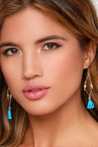 Carnival About It Turquoise Tassel Earrings at Lulus.com!