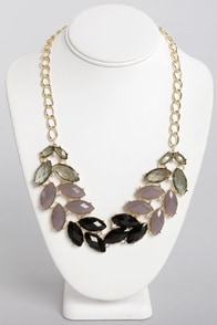 Nifty Shades of Grey Rhinestone Necklace at Lulus.com!