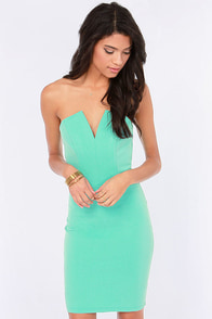 Feeling So Fly Strapless Mint Dress