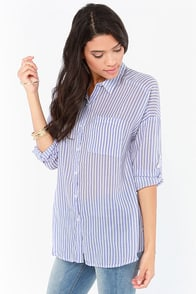 Olive & Oak Beach Day Blue Striped Top at Lulus.com!