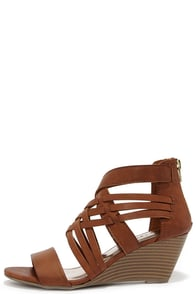 Madden Girl Honi Cognac Brown Caged Wedge Sandals at Lulus.com!