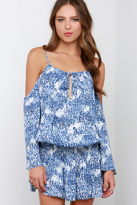 Watercolor Leopard Print Blue and Ivory Dress at Lulus.com!