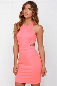 Serves You Bright Coral Pink Dress at Lulus.com!