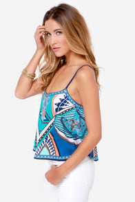 Take a Little Trip Blue Scarf Print Crop Top at Lulus.com!