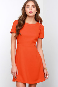 Standing Ovation Coral Red Lace Dress at Lulus.com!