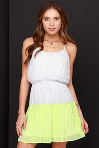Olive & Oak Tread Sprightly Chartreuse and Light Grey Dress at Lulus.com!