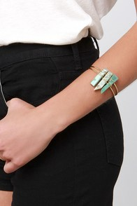 Rock Show Green Crystal Bracelet at Lulus.com!