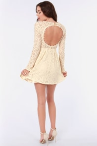Romeo and Silhouette Cream Lace Dress at Lulus.com!