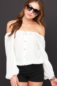 Dancing in the Moonlight Ivory Off-the-Shoulder Top at Lulus.com!