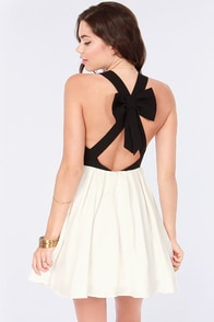 Bow Contraire Black and White Skater Dress