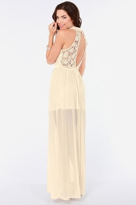 Walking on Air Cream Lace Maxi Dress at Lulus.com!