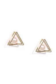 Tri it Out Gold Pearl Earrings at Lulus.com!