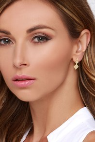 On the Chic Side Gold Earrings at Lulus.com!