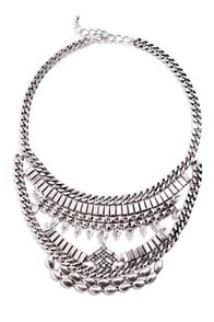 Chain My Ways Silver Rhinestone Statement Necklace at Lulus.com!