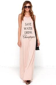 Brokedown Save Water Drink Champagne Beige Maxi Halter Dress at Lulus.com!