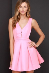 Hopes and Dreams Pink Skater Dress at Lulus.com!
