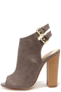 Bootie-licious Dark Taupe Peep Toe Booties at Lulus.com!