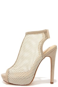 Game Plan Nude Mesh Peep Toe Booties at Lulus.com!