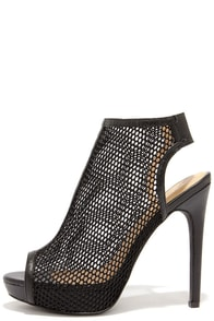 Game Plan Black Mesh Peep Toe Booties at Lulus.com!