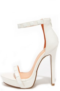 Square It Well White Studded Ankle Strap Heels at Lulus.com!