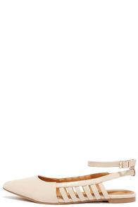 Frame to Please Nude Pointed Ankle Strap Flats at Lulus.com!