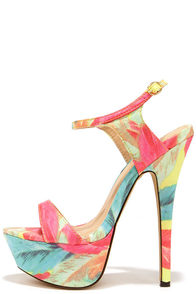 Electric Cute Coral Multi Print Platform Heels at Lulus.com!