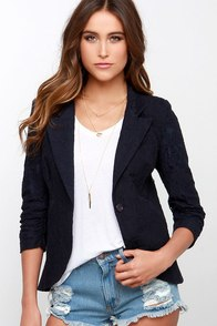 Ingenious Invention Navy Blue Lace Blazer at Lulus.com!