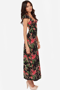 Cherry Blossoming Out Black Floral Print Maxi Dress at Lulus.com!
