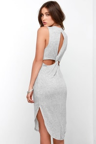 Everyday Goddess Light Grey Midi Dress at Lulus.com!