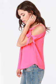 Pintucked Away Off-the-Shoulder Hot Pink Top at Lulus.com!