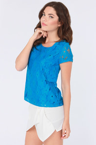 Flower You Doing? Blue Lace Top at Lulus.com!