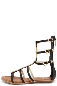Warrior Princess Black and Gold Beaded Gladiator Sandals at Lulus.com!