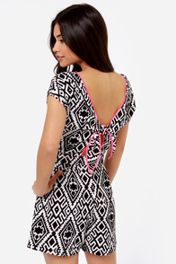 Pitter Pattern Ivory and Black Print Romper at Lulus.com!
