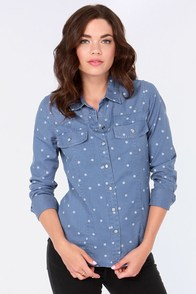 Roxy Saddleback Chambray Polka Dot Top at Lulus.com!