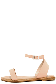 Keep It Sweet Peach Nubuck Ankle Strap Sandals at Lulus.com!