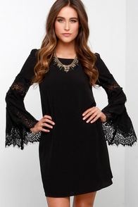 Jolly-Well Black Lace Swing Dress at Lulus.com!