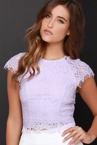 Feelin' Fancy Lavender Lace Crop Top at Lulus.com!