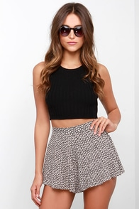 Steal My Sunshine Black and Beige Print Shorts at Lulus.com!