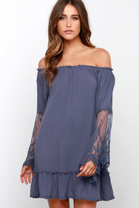 Fallen from Lace Denim Blue Lace Off-the-Shoulder Dress at Lulus.com!