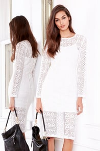 JOA Geome-Tricks Ivory Lace Midi Dress at Lulus.com!
