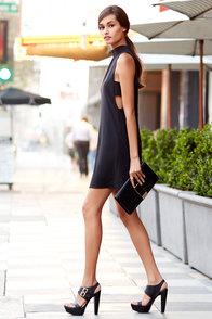 For Sienna Make Your Mock Black Dress at Lulus.com!